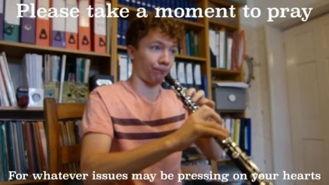 Ewan Millar plays the oboe for St Hilda's Reflective Prayer Service