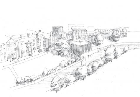 Aerial view of Gort Scott's 'Redefining St Hilda's' concept design