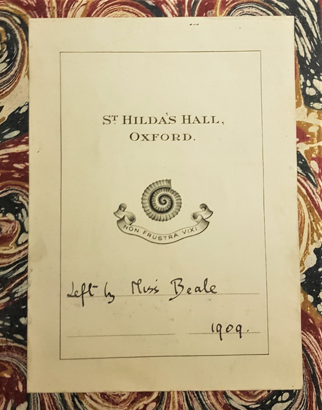 Book plate of the oldest printed book in St Hilda's special collections