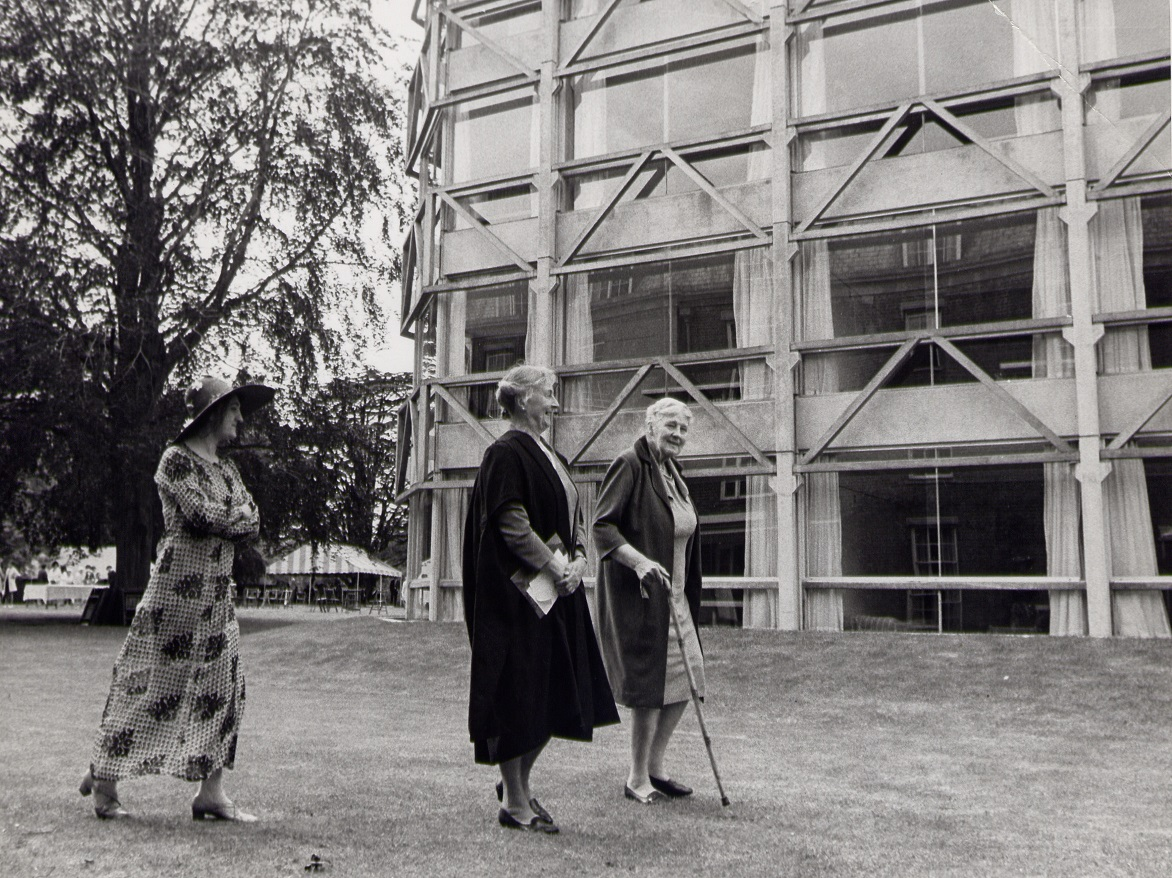 Former Principal, Julia Mann, walking with Principal, Mary Bennett, followed by Alison Smithson at the opening of  Garden Building 1971