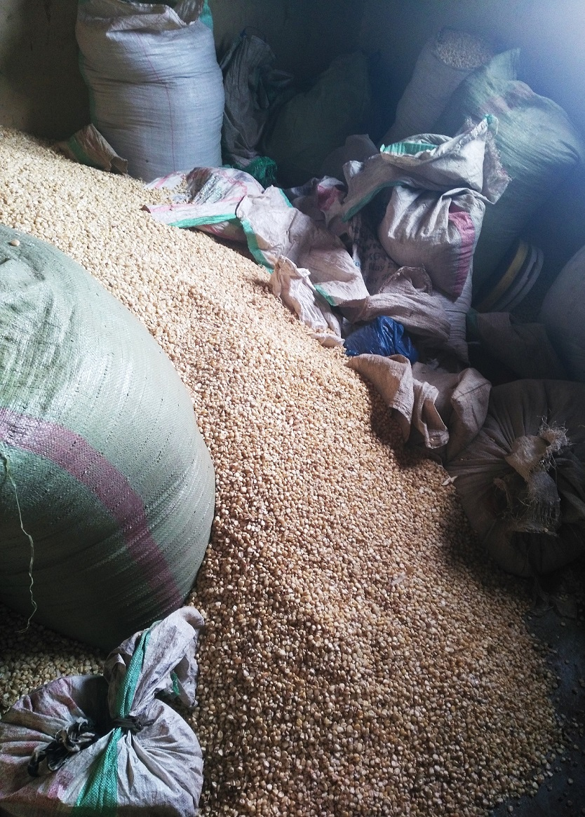 Maize storage in the school kitchen in Oldonyosambu, Tanzania