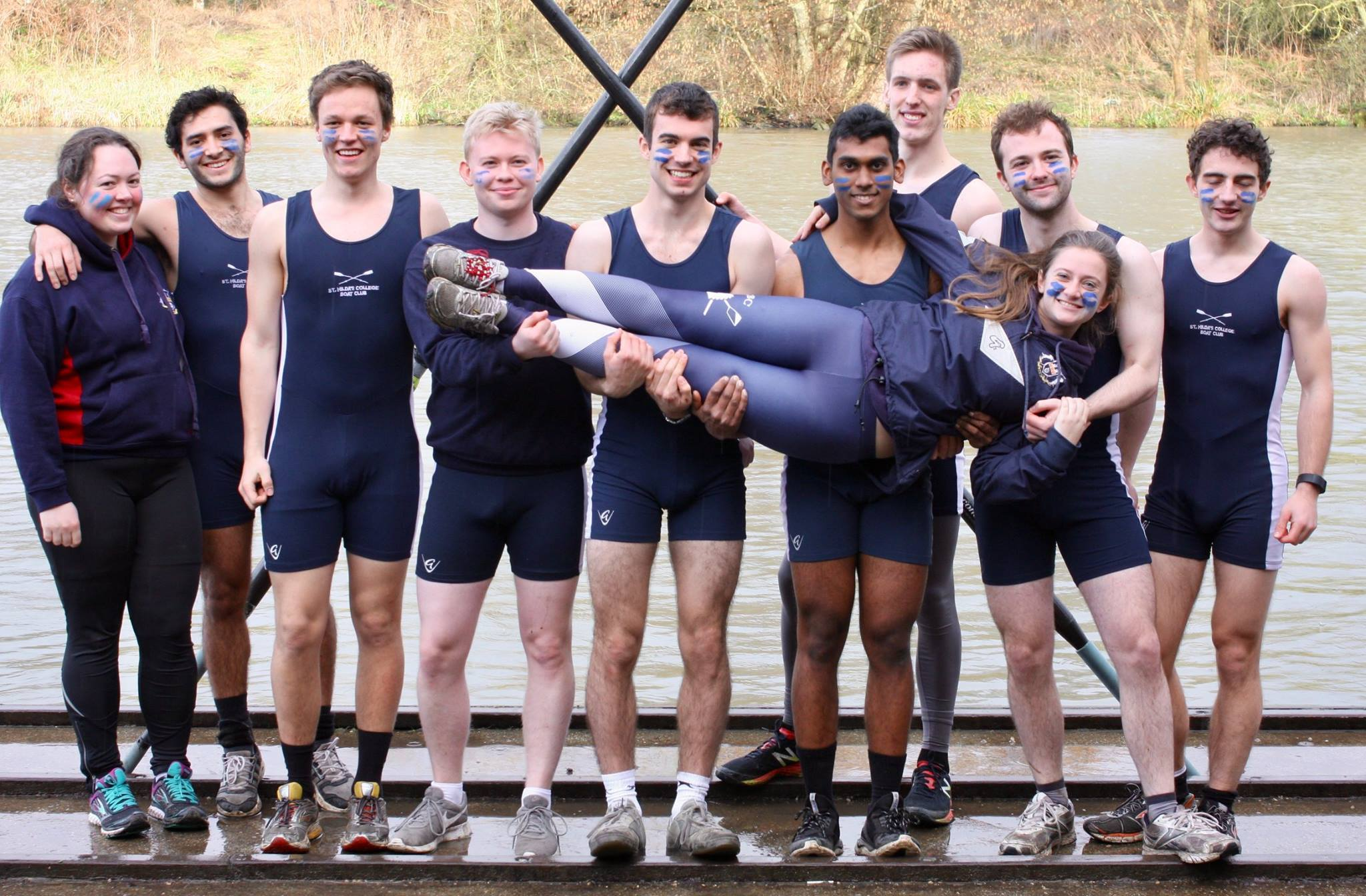 St Hilda's men's boat crew at Summer Eights in 2015