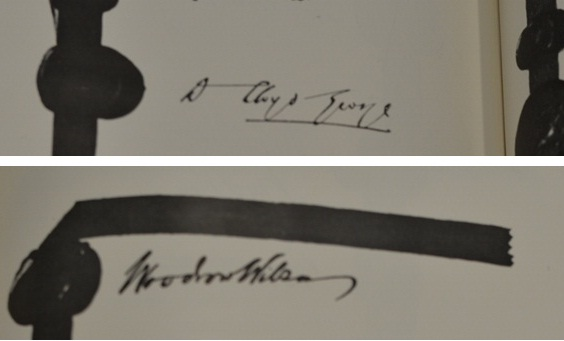 Signatures of UK Prime Minister, David Lloyd George, and President of the USA, Woodrow Wilson, on the Treaty of Peace