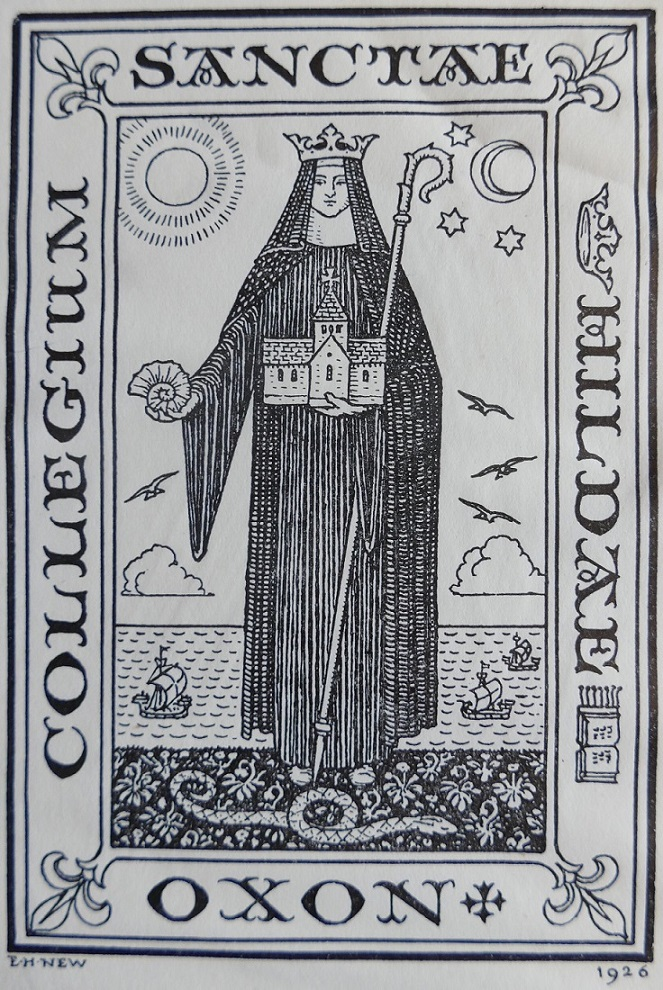St Hilda's book plate (1926) by E.H. New