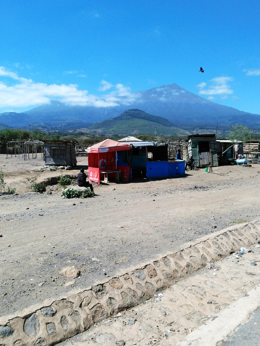 The centre of Oldonyosambu ward next to Mount Meru, Tanzania