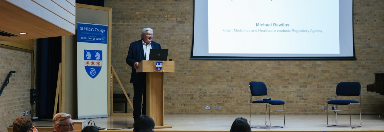 Professor Sir Gordon Duff introduces the inaugural lecture for the Centre for Clinical Therapeutics at St Hilda's College