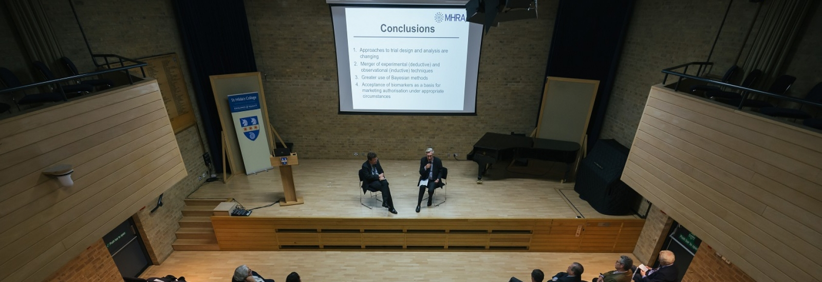 Professor Duncan Richards and Sir Michael Rawlins at the inaugural lecture for the Climax Centre for Clinical Therapeutics Research at St Hilda's College, Oxford