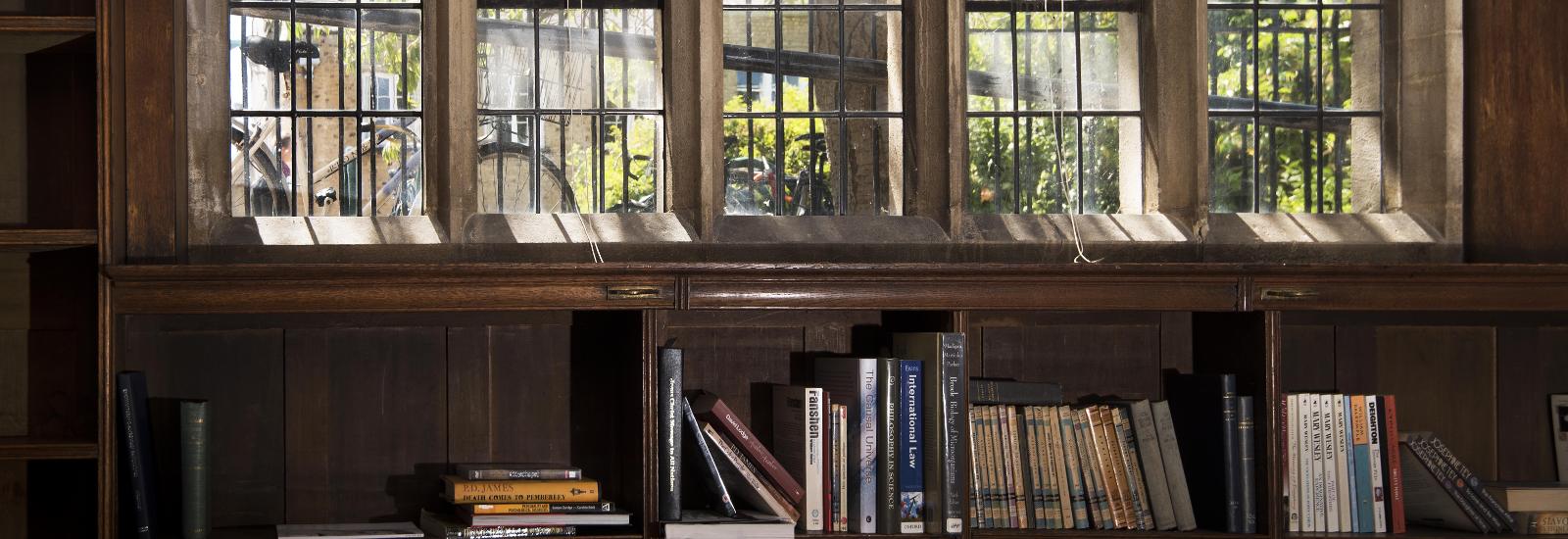 Book shelves in Kathleen Major Library, St Hilda's College
