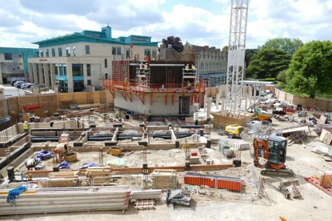The beginnings of St Hilda's new entrance and tower.