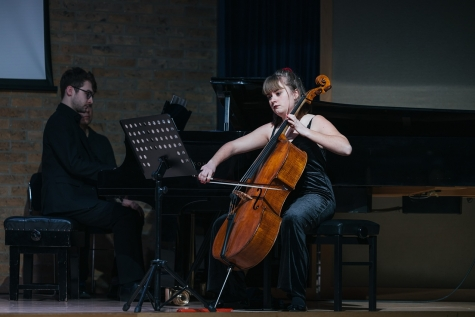 St Hilda's Music students, Holly Jackson (cello) and David Palmer (piano) perform at Making the Cellist in the Jacqueline du Pre Music Building at St Hilda's College