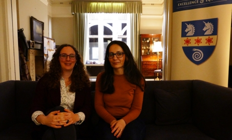 Nuhu Abdo from Syrian Sisters with Dr Maeve McKeown at St Hilda's Feminist Salon