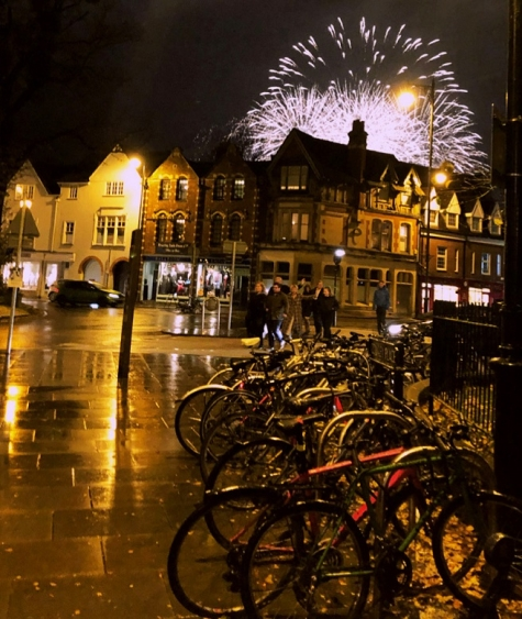 Fireworks behind Cowley Place in Oxford