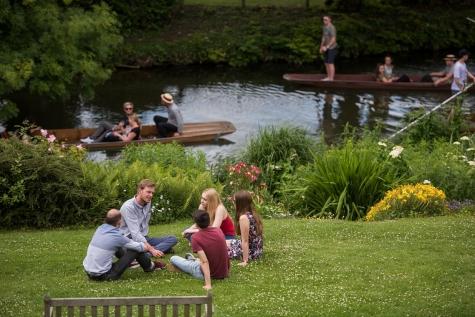 St Hilda's College's riverside gardens in the summer