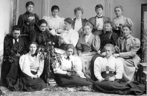 Science students at St Hilda's College holding embalms of their subjects, 1896-97