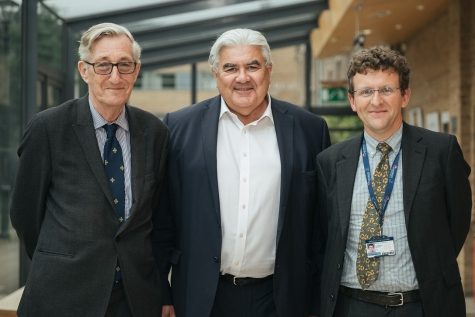Sir Michael Rawlins, Sir Gordon Duff and Professor Duncan Richards at the inaugural lecture for the Climax Centre for Clinical Therapeutics Research at St Hilda's College, Oxford