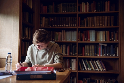 Student in Kathleen Major Library, St Hilda's College