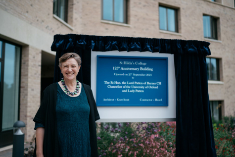 Acting Principal, Dr Georgina Paul, at the official opening of St Hilda's Pavilion and the Anniversary Building