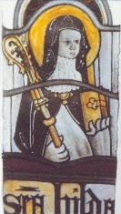 St Hilda of Whitby, stained glass window image