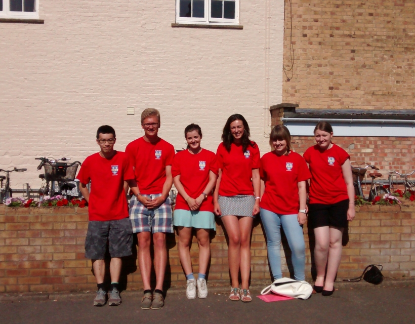 Student guides waiting to welcome visitors to our Open Day, 2015