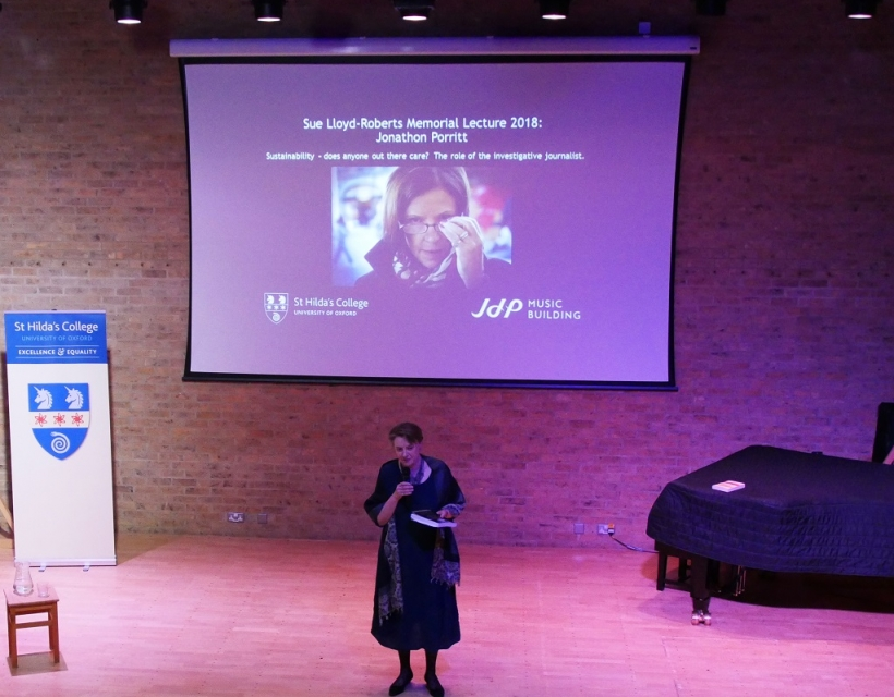 Vice Principal, Dr Georgina Paul, introduces Jonathan Porrit, who delivers the 2018 Sue Lloyd- Roberts memorial lecture, 'Sustainability - does anyone out there care?