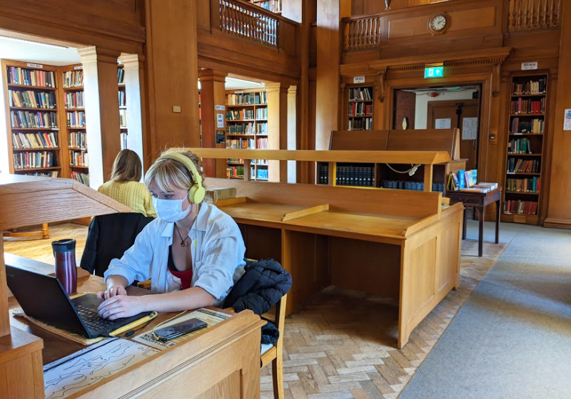 Studying in the Kathleen Major Library at St Hilda's College, University of Oxford