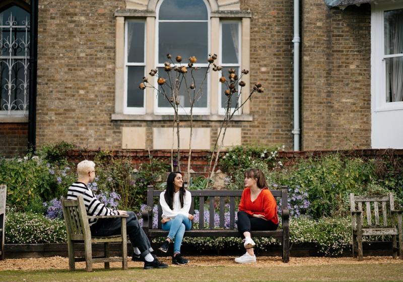 Students in Hall Garden, St Hilda's College