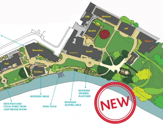 St Hilda's site map showing Phase 1 buildings, Phase 2 location and garden plans
