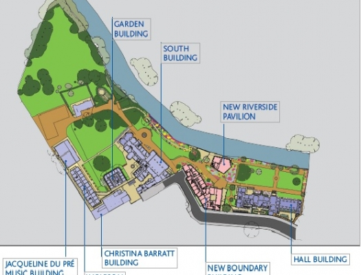 St Hilda's site map showing the location of new buildings in relation to the existing ones.