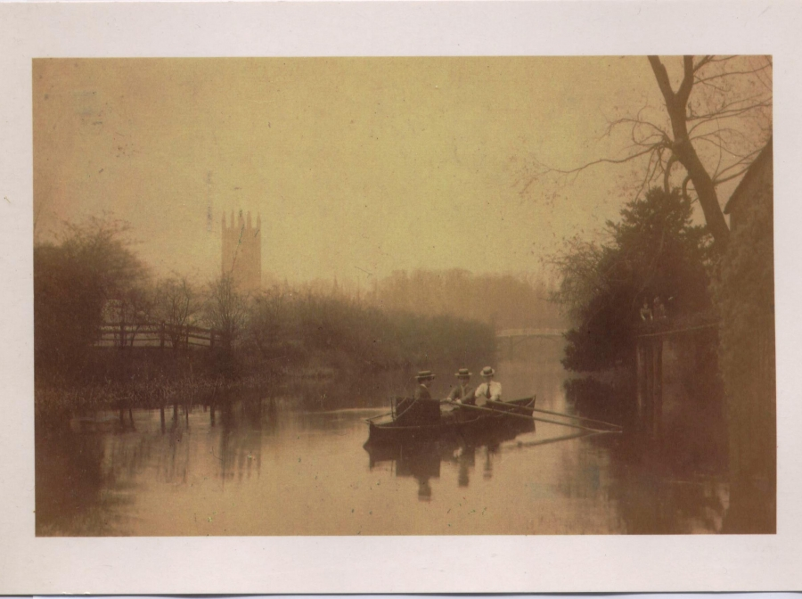 Students rowing on the Cherwell, 1895