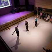 Jennifer Jackson and Tom Armstrong lead a workshop on 'The Sleeping Beauty' with dancers, Gabrielle Orr and Courtney Reading