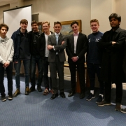 Dr Luke Jew with Physics Students at St Hilda's Principal's Research Seminar