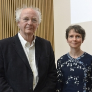 Philip Pullman, Dr Margaret Kean, and Mansfield College Principal, Helen Mountfield QC