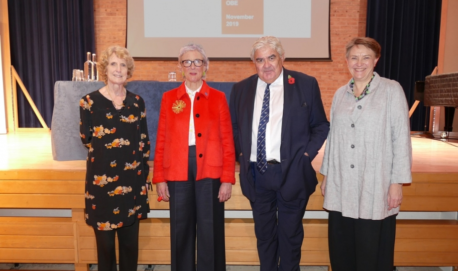 Lady English, Sarah Weir OBE, Professor Sir Gordon Duff, Principal, and Dr Georgina Paul at the Lady English Lecture 2019