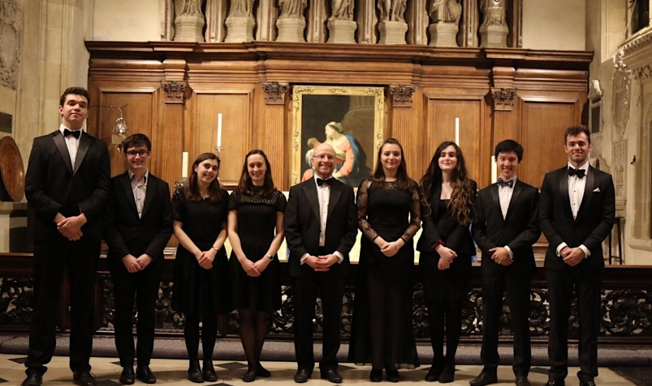 Our Choral Scholars, with St Hilda's Director of College Music, Dr Jonathan Williams