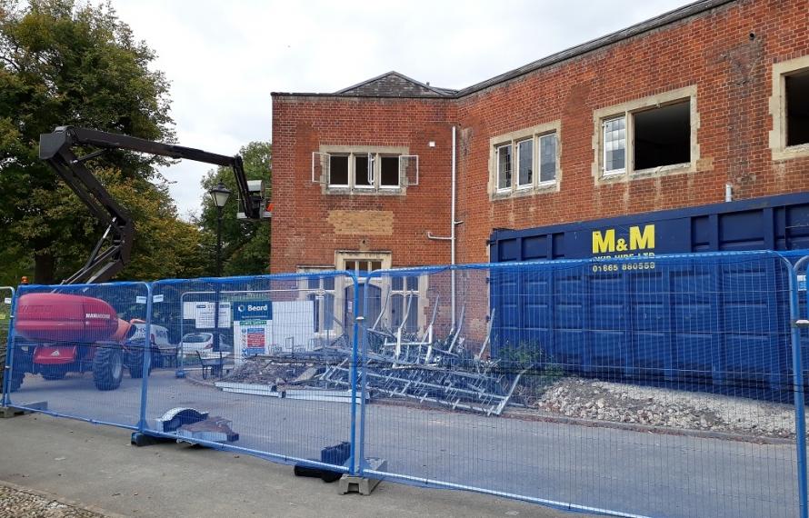 Demolition of Milham Ford begins at St Hilda's College.