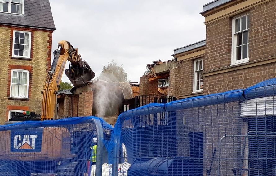 Demolition of the old MCR at St Hilda's College.