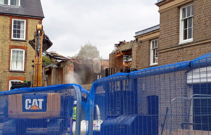 Demolition of the old Porter's Lodge and Middle Common Room continue at St Hilda's College