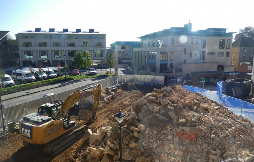 Demolition of Porters' Lodge and MCR seen from Hall Building