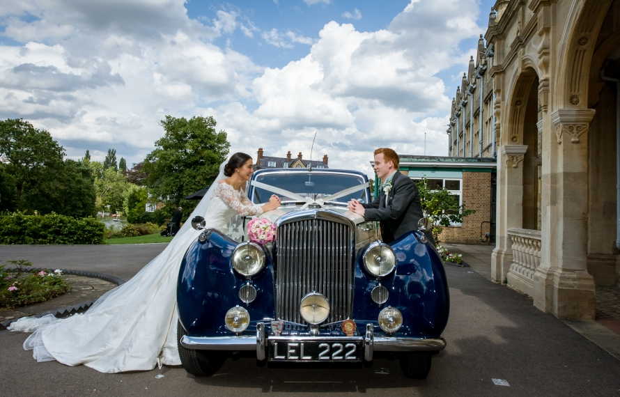 Wedding car outside South Building, St Hilda's College