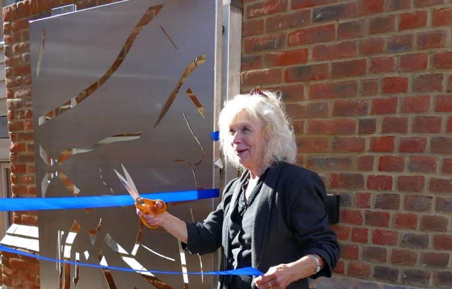 Cutting of the ribbon at the Jocelyn Morris Quad