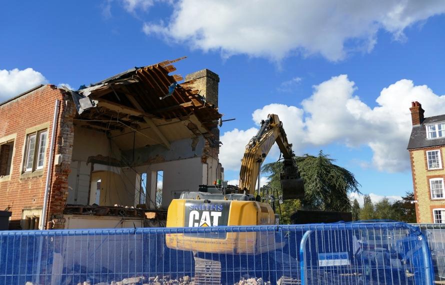 Demolition of Milham Ford at St Hilda's College.