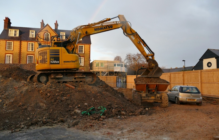 Demolition of the old Porter's Lodge and Middle Common Room is complete at St Hilda's College, University of Oxford