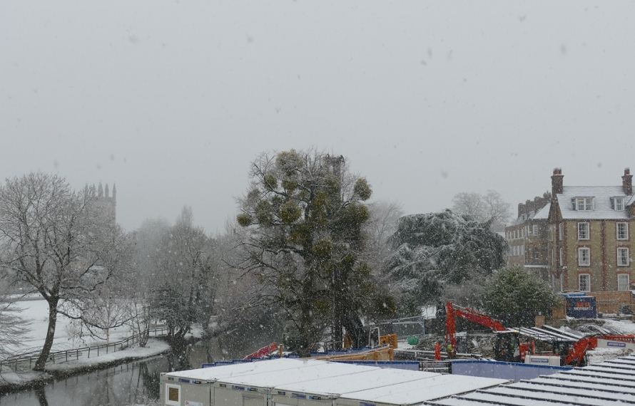 Construction work continues in all weathers at St Hilda's College.