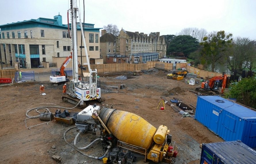 Foundation piling at St Hilda's College