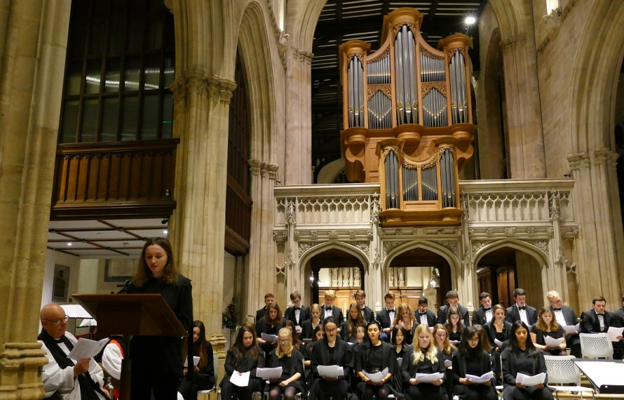 Rachel Fairhurst, Chapel Warden, gives a reading at St Hilda's College's Founder's Day Service