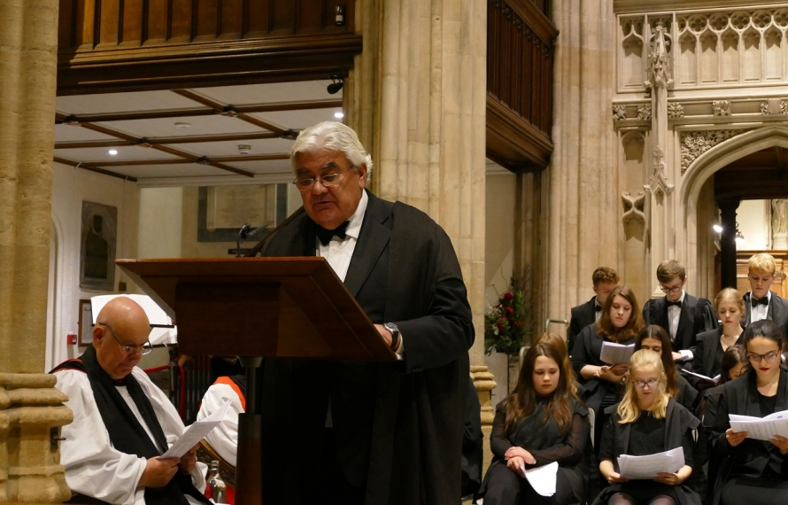 Professor Sir Gordon Duff, Principal, gives a reading at St Hilda's College's Founder's Day service