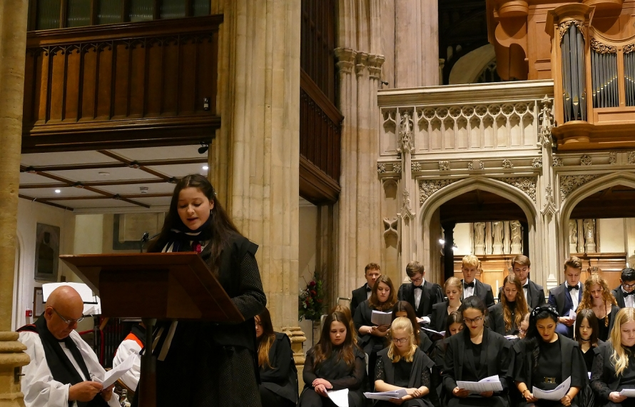 Mia Day Gough (English, 2017) gives a reading at St Hilda's College's Founder's Day Service