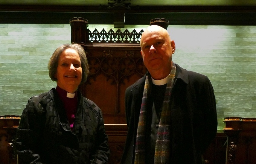 The Rt Revd Vivienne Faull, Bishop of Bristol and Canon Brian Mountford at St Hilda's College's Founder's Day Service