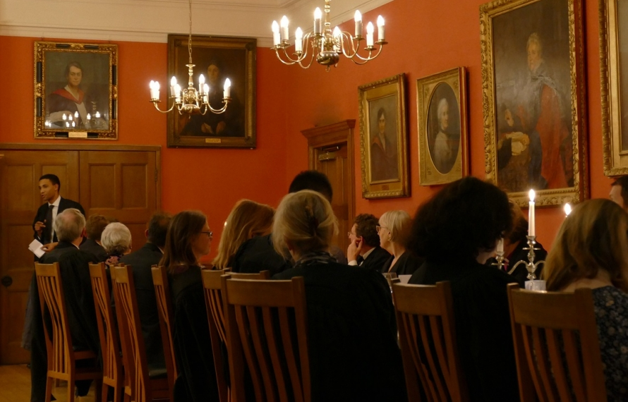 Mitchell Harris (Psychology, 2008) gives the after-dinner speech at St Hilda's College's Founder's Day dinner