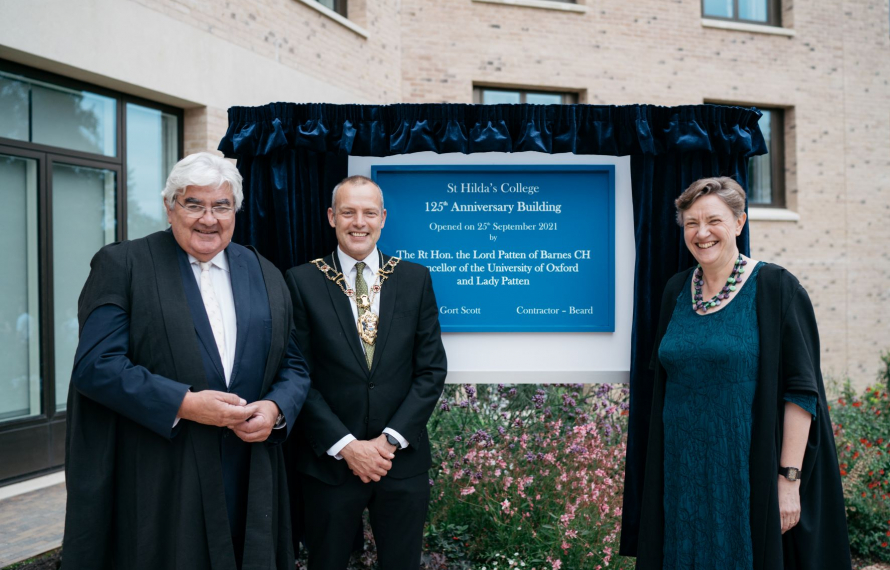 St Hilda's Pavilion and Anniversary Building are officially open with Sir Gordon Duff, Lord Mayor of Oxford, Mark Lygo, and Dr Georgina Paul